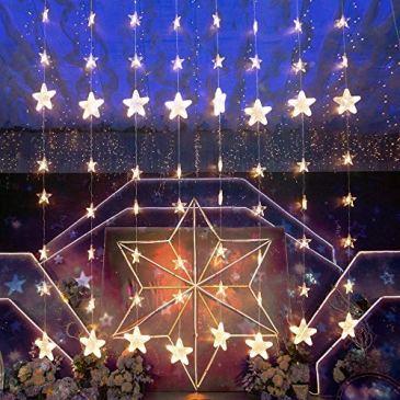 Guirlande Lumineuse – 8 chaînes guirlandes lumineuses avec Joli Étoile 144 LED Blanc Chaud, Guirlande Lumineuse Télécommande Dimmable Noël Basse Consommation,étanche IP44
