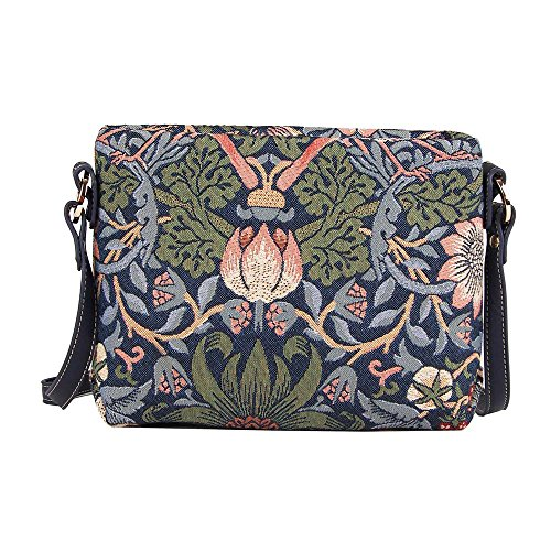 SIGNARE Bolso tapiz de hombro de moda mujer bolso de mano en bandolera bolso messenger Floral (Ladrón de fresas azul)