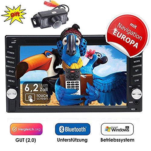 2DIN Autoradio CRE V-336DG mit GPS Navigation (Europa), Bluetooth, Touchscreen, DVD-Player und...