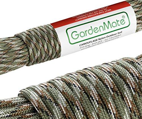 GardenMate® Cuerda de Nailon Profesional para Exteriores I 31 m Largo 4 mm Grosor I Paracord 550 I Cuerda Envolvente del núcleo con 7 Hilos de núcleo de Nailon Resistente al desgarro - Camuflaje