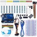 STARTO Arduino Starter Kit Uno R3 Scheda Breadboard Sensor Jumper Wire 1 Digit 7-Segment Display Resistance Card con Tutorial gratuiti SUA002