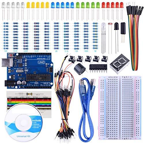 SARTO Basic Starter Kit per il progetto Arduino viene fornito con la scheda UNO R3, breadboard e altri componenti di base per i progetti Arduino fai da te.Caratteristiche: 1.SARTO Arduino Kit è compatibile al 100% con i progetti Arduino. 2.Re...