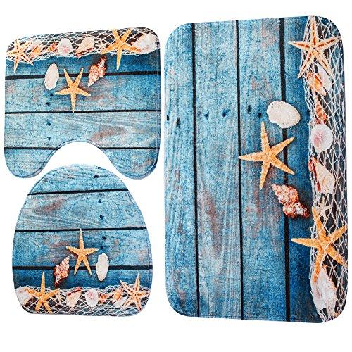 Demiawaking Set 3 Pezzi Tappetino da Bagno Tappetino WC Antiscivolo di Stile Oceano Tappeto...