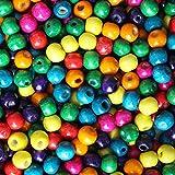 Pack 1000 Piezas (Aprox) Cuentas de Madera Coloridas - Cuentas de Madera para Hacer Joyas - Set Variado de Cuentas Redondas Sueltas - Kit Abalorios Naturales 8mm para Collares, Brazaletes