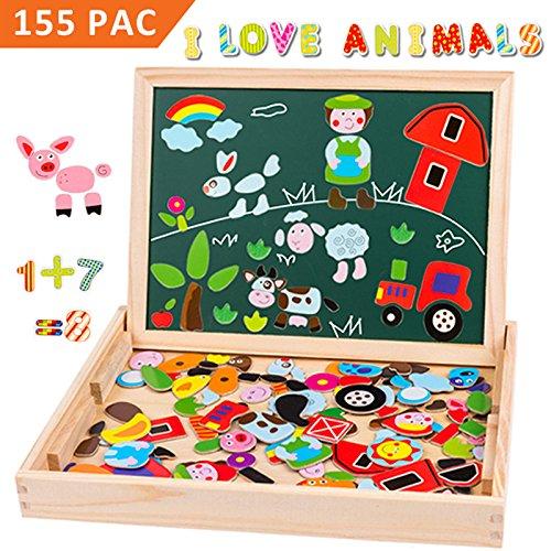 Uping Puzzle Magnetico Legno Giocattolo di Legno con Lavagna a Double Face Bambini 3 anni 4 anni 5...
