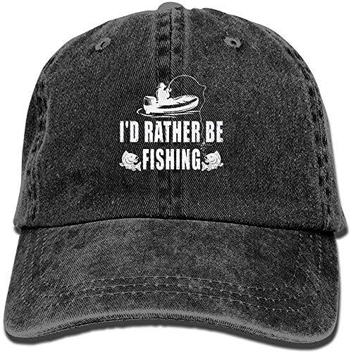 aswqe879 Preferirei Pescare Cappello di Jeans Regolabile Regolabile da Uomo Nero