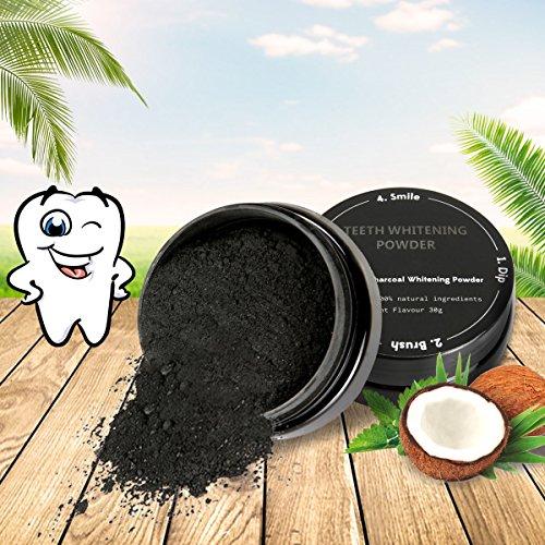 Luckyfine Zahnpulver,  Kokosnuss Aktivkohle zur natürlichen Zahnaufhellung für weiße Zähne
