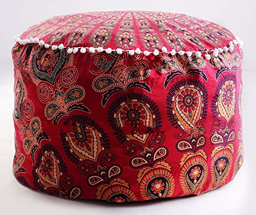Tapestry Lovers Peacock Wing Psychedelic Mandala Hippie Gypsy Boho Bohemian Beautiful Throw Decoration Floor Seating Ottoman Cushion Cover Case Without Filler (Red, 24 X 14 inches)