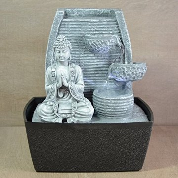 Zen'Light Fontaine d'Intérieur Mur Bouddha Méditation, Plateado, 20 x 15 x 24 cm 7