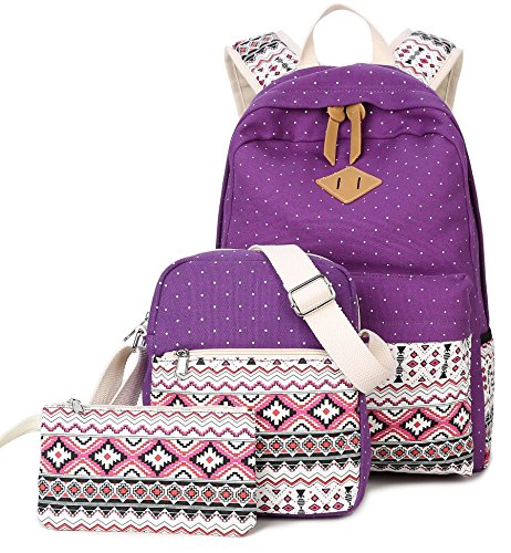 DCCN Canvas Rucksack 3 Teile Set Schulrucksack Mädchen Schultaschen-Sets Lila Wellenpunkt