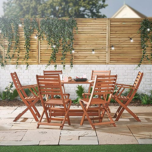 VonHaus 6 Seater Wooden Dining Set - Rustic Table and 6 Chair Garden Set - Outdoor Furniture 7 Piece Set Made from 100% Hardwood