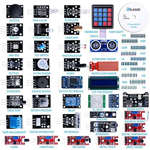 61y%2BI7tQbyL - ELEGOO Actualizado 37-en-1 Kit de Módulos de Sensores con Tutorial Compatible con Arduino UNO R3 Mega 2560 Nano Raspberry
