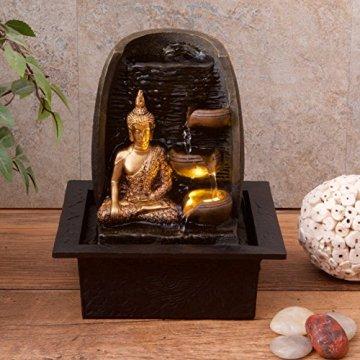 Bibiana Buda Dorado con Tazas de Agua y Fuente de Agua de Interior con luz LED, 21 cm x 18 cm x 25 cm 4