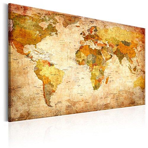 murando Mappa del mondo per il fissaggio puntine & Quadro su tela fliselina 120x80 cm 1 Parte...