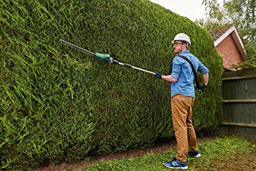 If you're familiar with the garden tools, then you already know that Bosch is a company that needs no introduction and they usually produce really good tools both for the professional and amateur industry, we have only ever seen a handful of tools that didn't impress or we wouldn't buy ourselves. They are famous for making perfectly balanced and designed hedge trimmers and this Bosch 18v Cordless Telescopic Hedgecutter is no exception. The first thing that stands out is the build quality, followed by exceptional performance, especially for a cordless model.