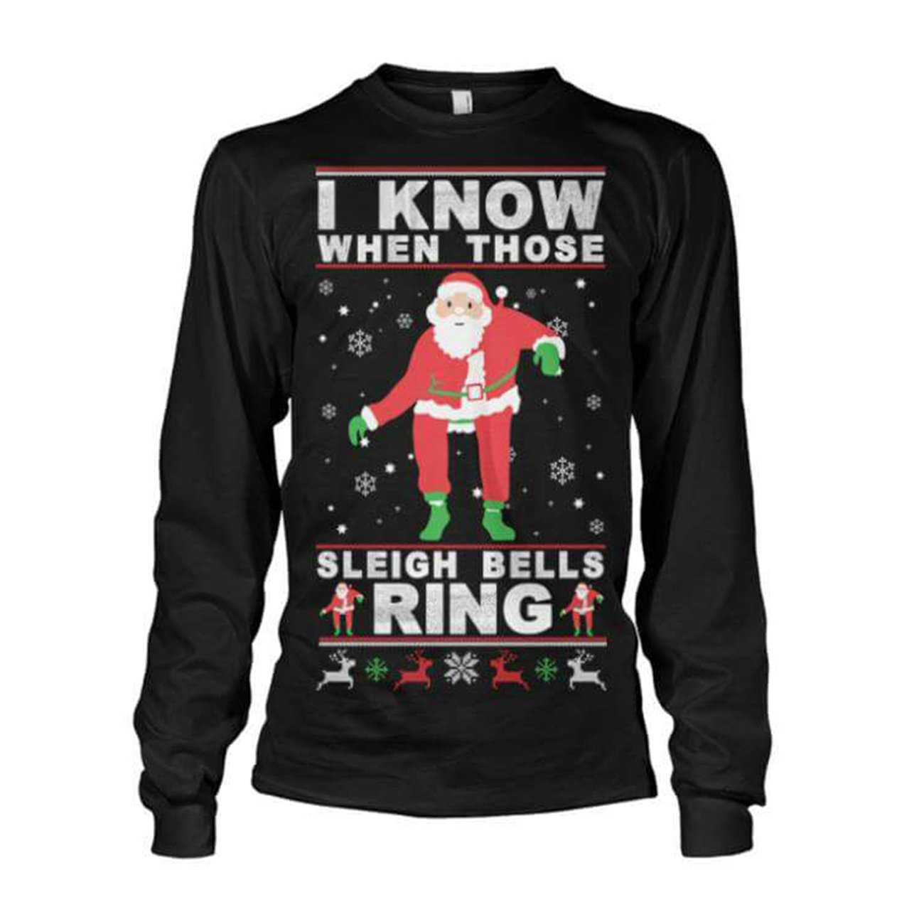 Christmas Tops.Malaika Womens Limited Edition Ugly Christmas Sleigh Bell Ring Ladies Santa Sweatshirt Girls Novelty Vintage Retro Christmas Sweater Printed Tops