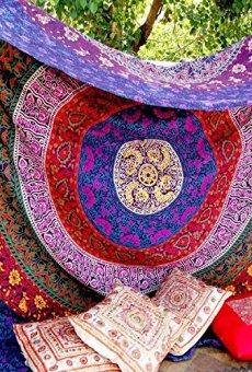 Craftozone Tapiz para Pared, diseño Indio de Mandala, algodón