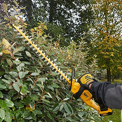 The DEWALT DCM563P1-GB 18V XR Cordless Hedge Trimmer will work on both small and thicker branches. The long dual action blade produces precise cuts that give your edges a uniform look. The price is affordable for the quality service provided by this tool. It is a lightweight tool and therefore it is easy to manoeuvre around. You will find that the hedge trimmer works quietly compared to the petrol models. This is convenient particularly if you are sensitive to noise. We would recommend this one for medium works around the property because excessively high or thicker branches will need a unit with an extension pole.