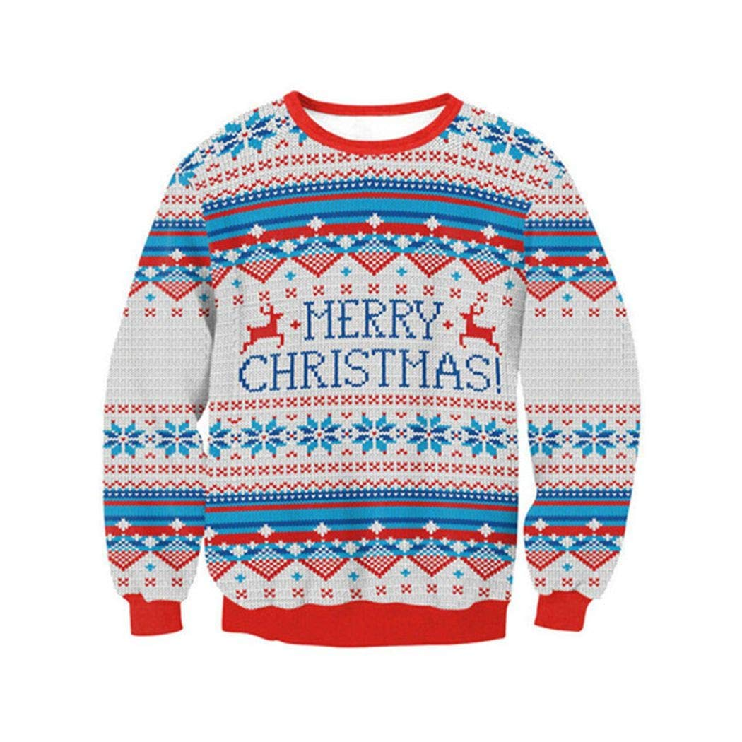 SWEAAY Christmas Sweater O-Neck Pullover Sweatshirt Couple Christmas ... d92cc994e