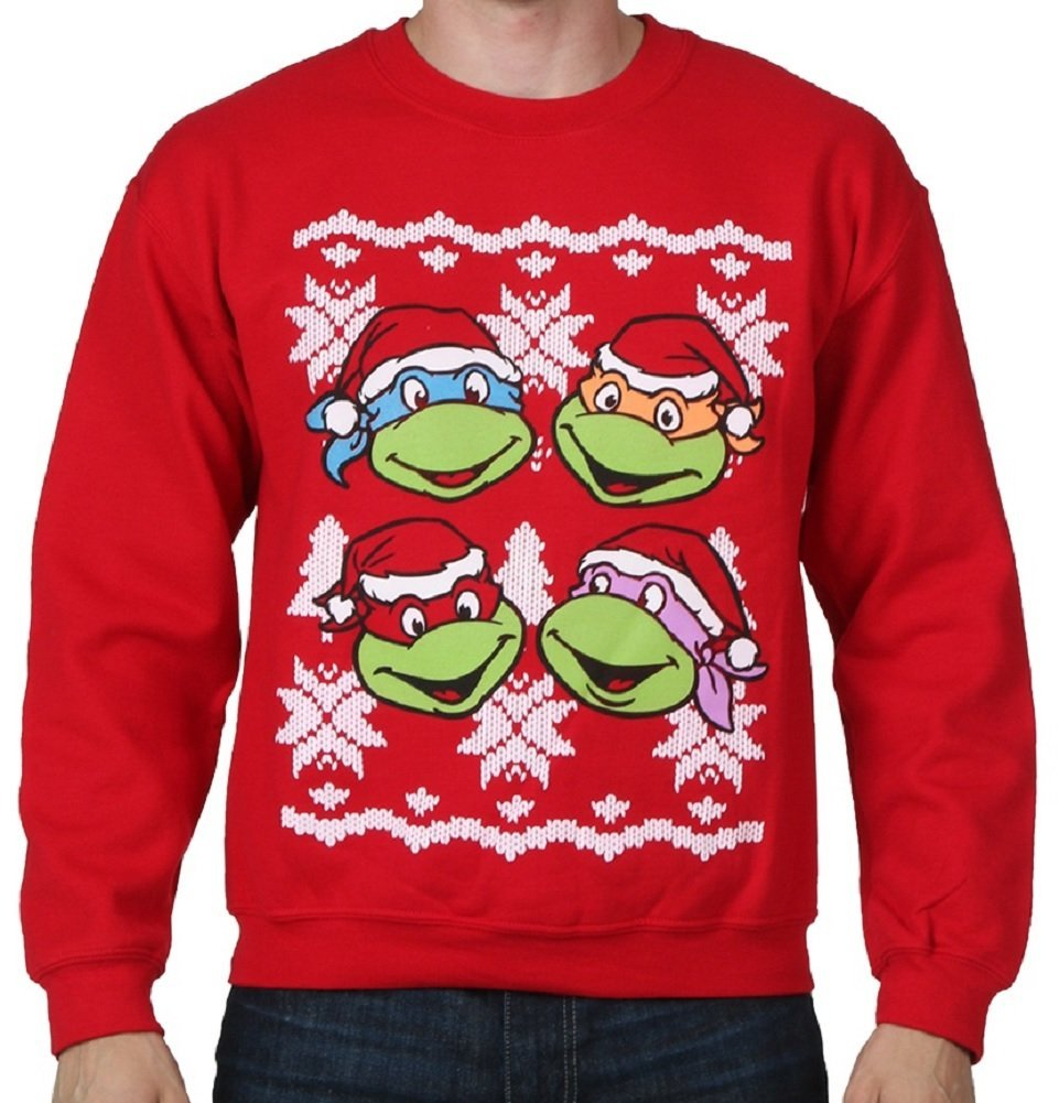Teenage Mutant Ninja Turtles Faces Adult Red Ugly Christmas ...