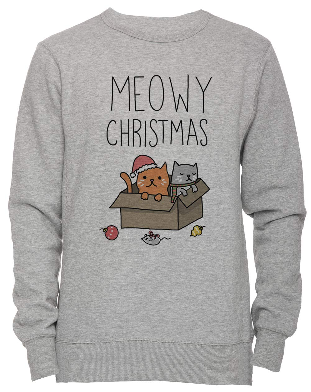 678eddc517 Meowy Christmas Cat Holiday Pun Unisex Men's Women's Jumper Sweatshirt  Pullover Grey