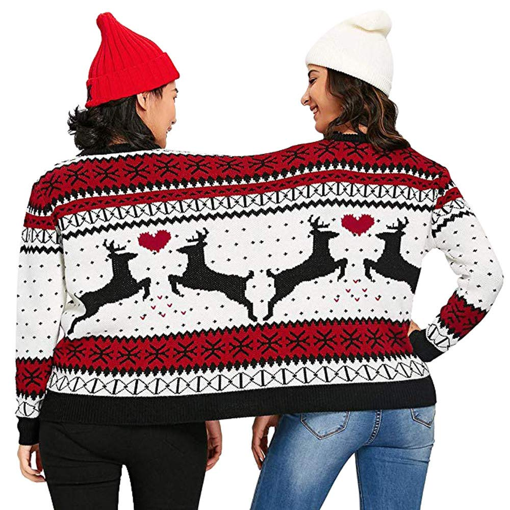 Christmas Sweaters For Couples.Christmas Two Person Ugly Christmas Sweater Xmas Couples Pullover Novelty Sweaters Sweatshirts Tops Shirt Blouses