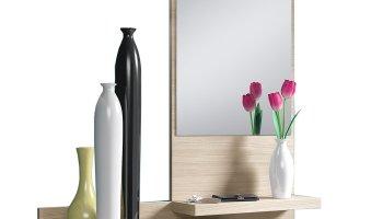 Mobile ingresso milly sospeso bianco legno specchio entrata