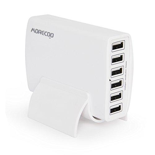 Morecoo 60W 6ポート USB急速充電器 acアダプター スマホ充電器 チャージャー iPhone/Android全世代 スマホ/タブレット対応 縦置きスタンド付き ホワイト
