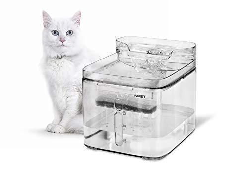 【2019年最新型】 NPET ペット自動給水器 WF020TP 猫/中小犬用 活性炭フィルター循環式 3L 全透明