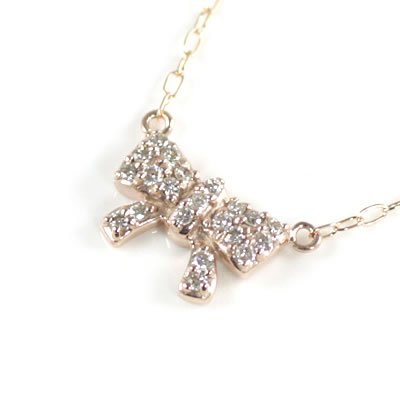 SUEHIRO ( Brand Jewelry me. ) K10ピンクゴールド ダイヤモンドペンダントネックレス(リボンモチーフ)