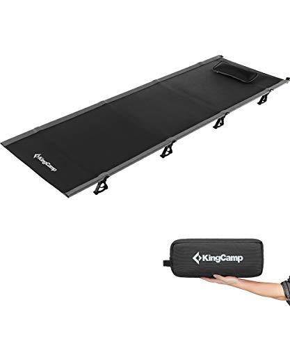 KingCamp(国際デザイン大賞)キャンプコット 折りたたみベッド 航空アルミ 5色 枕と収納バッグ付き 軽量2kg 耐荷重120kg (ブラック)