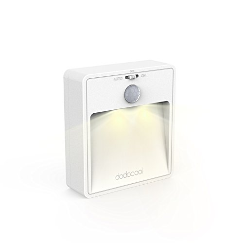 dodocool  LEDナイトライト明暗&人感センサー モーションセンサーLEDナイトライト 三つのモード 電池式壁掛けライト 自動点灯 消灯 省エネ 階段、廊下、経路、バスルームにも適用