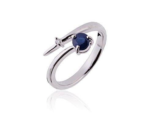 [Gem Crown] ダイヤモンド サファイア リング 有名百貨店人気商品 国内宝飾職人製作 指輪 フリーサイズ [保証書付] 9月 誕生石 SV シルバー 925