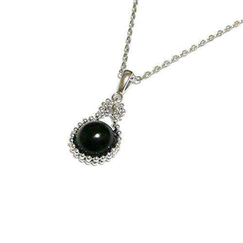 【 馬蹄 モチーフ 】 黒珊瑚 ( 8mm 丸珠 ) ペンダント ネックレス