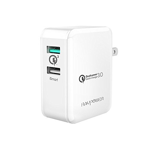 Quick Charge 3.0 充電器 RAVPower 30W 2ポート USB充電器( QC3.0 、 iSmart出力自動判別 、 急速充電 )Galaxy S7 / S6 / Edge / Edge Plus / Nexus 6 / iPhone /iPad スマホ タブレット モバイルバッテリー 等対応(ホワイト)