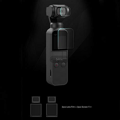 保護フィルムレンズ 高透過率 低反射 超薄 カメラスクリーンプロテクターアクセサリー DJI OSMOスクリーンプロテクター用(2枚)レンズフィルム+(2枚)スクリーンフィルム