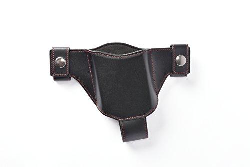 スマートフォン専用本革製薄型ホルスター(左用)ブラック(赤ステッチ)
