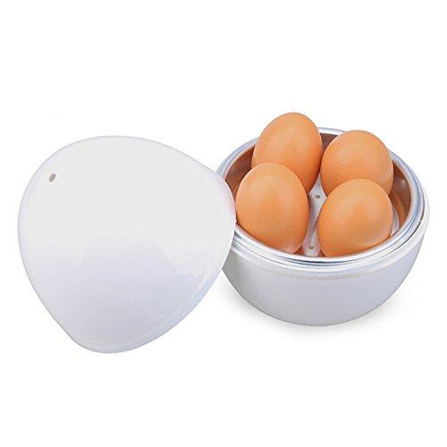 SUPERKIT レンジでゆで卵器 シンプル 卵蒸し器 たまご 電子レンジ用 4ケ用 白 超かわいい