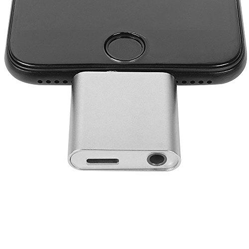 WOPOW® iPhone7 iPhone7 Plus 充電可能イヤホン出力ライトニング Lightning 3.5mm ステレオイヤホンジャック変換アダプタ シルバー