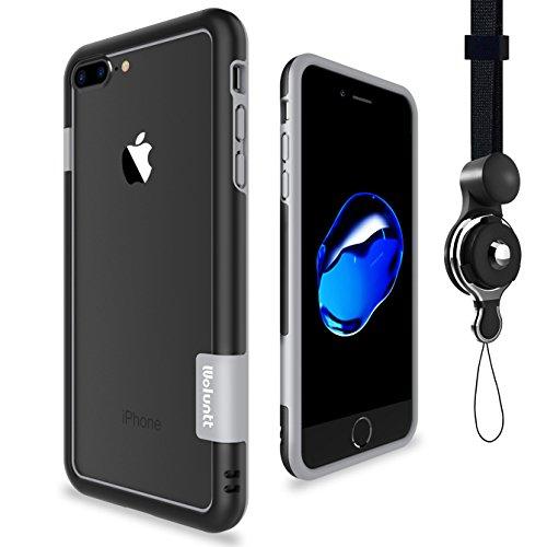 WOEXETiPhone 7 Plus用バンパーとストラップセット ストラップ付き 落下防止 衝撃吸収 アイホン 7 プラス ブラック