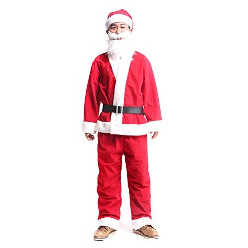Jelinda クリスマス メンズ サンタクロース コスチューム コスプレ仮装 【トップス、ズボン、ベルト、手袋、帽子、髭、プレゼント袋】七点セット 卒業式 仮装