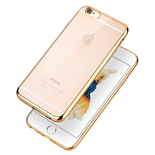 COOLOO iPhone6S ケース iPhone6 ケース TPUメッキ加工 超薄型耐衝撃 最軽量 一体型 耐久性が高い 電波影響無し 取り出し易い クリアタイプ TPU 透明 カバー アイフォン6s/6/plus対応 全五色iPhone6/6s ゴールド