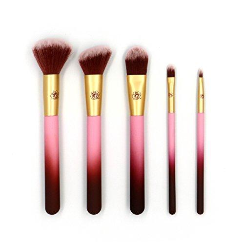X-go 化粧筆 高級天然毛 5本セット 化粧 ブラシ 肌触りがふんわり 敏感肌適用 メイクブラシ (紫)
