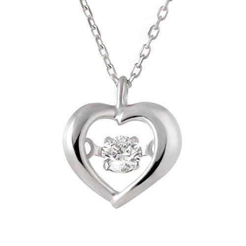ダンシングストーン 揺れる ダイヤモンド ネックレス ハート K10 ホワイトゴールド ペンダント 一粒 レディース 女性 プレゼント