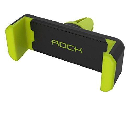 スマホ車載ホルダー ROCK (グリーン、グレー) エアコン吹き出し口に取り付け 360度回転可能 携帯・モバイル車載スタンド iPhone カー用品 スマートフォン アイフォン グリーン