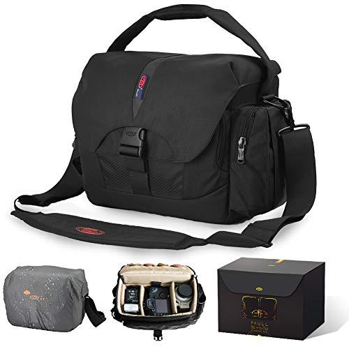 カメラバッグ ショルダーバッグ 一眼レフ用 ハンドバッグ 防水 大容量 三脚取付可 10インチPC収納可 雨用カバー付き 旅行 登山 アウトドアに適用 3way ブラック 10.7L 男女兼用 BL-1603 BPaull