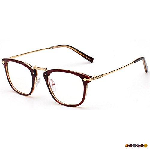 RONDE 伊達メガネ レンズあり 鼻型調整 眼鏡 おしゃれメガネ 黒縁メガネ スクウェアメガネ メンズ レディース ノーズパッド メガネronde メガネドライバー対応 メガネケース付き ブラウン