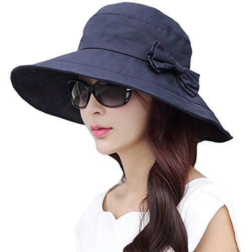 (シッギ)Siggi 女優帽子 バケットハット レディース 夏 コットン uvカット ツバ広 サイズ調整 折りたたみ 自転車 紐 日よけ帽子 ハット ネイビー