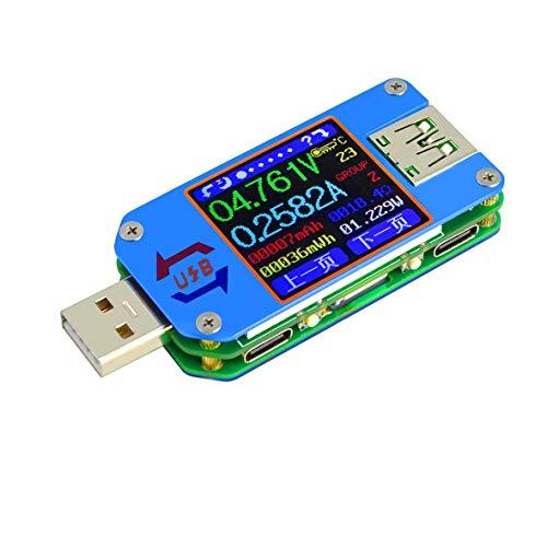 Blackfell UM25C UM25カラーLCDディスプレイ電流電圧テスタUSB 2.0 Type-Cデュアルポート電圧計バッテリ充電測定ツール