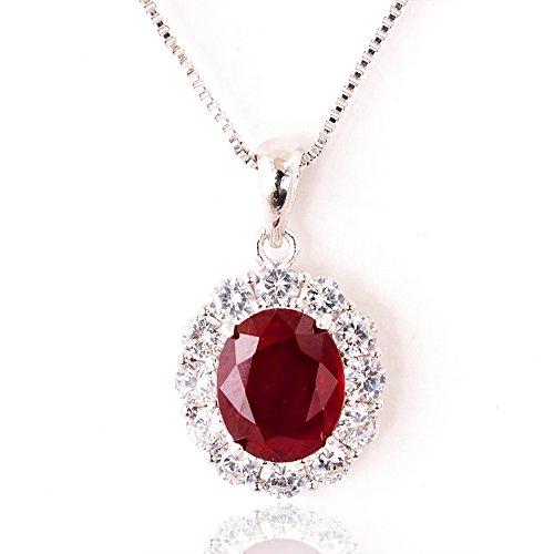 【鑑別書付】 一生物 超大粒 5ct 天然 ルビー ネックレス ペンダント SV925 K18GP 宝石の女王 7月誕生石